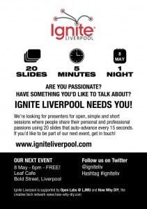 Ignite Liverpool poster - leaf cafe